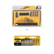 Jogo de Brocas e Bits com Estojo Velcro Dewalt - 98 Peças DT7981- QZ + Jogo de bits torx Dewalt DWA1TS-7